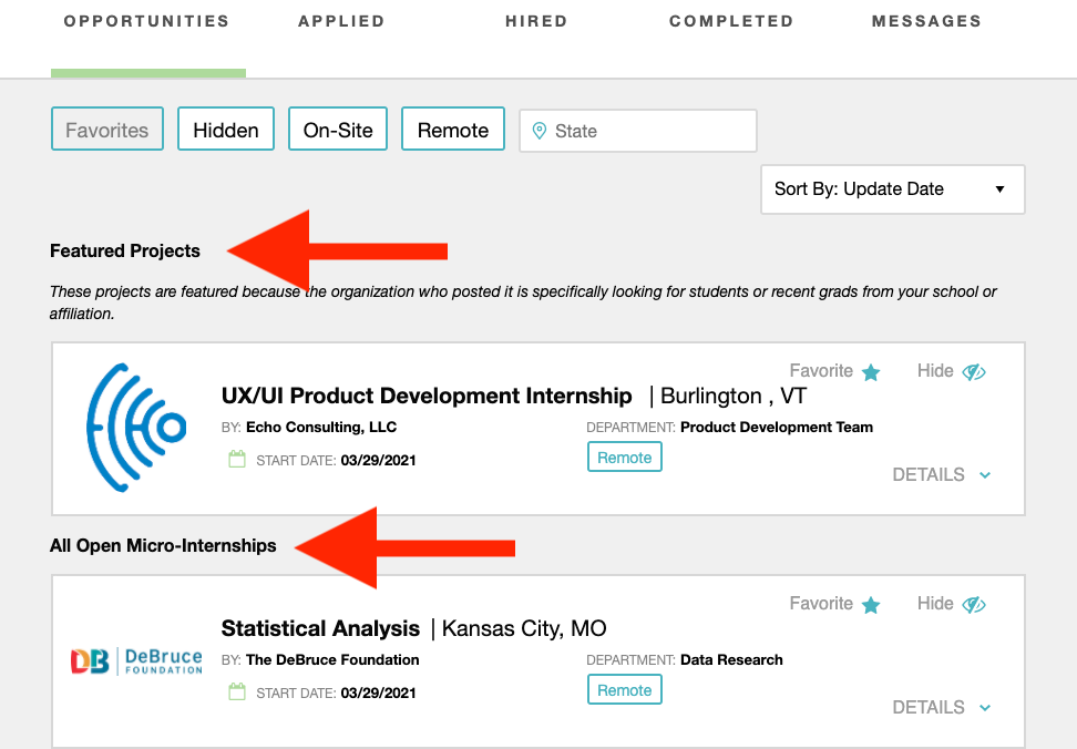 Example of Featured Projects